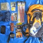 PAF RBR11 Survival/Tool pack KIT: Folia NRC, race sygnałowe, puszka survivalowa BCB, kurtka przeciwdeszczowa z Decatlonu, Lusterko sygnalizacyjne BCB, zapasowa świeca, Czołówka + zapasowe baterie, GPS Foretrex 301, Multitool Latherman Wave, Telefon w wodoszczelnym worku, camelbak MULE
